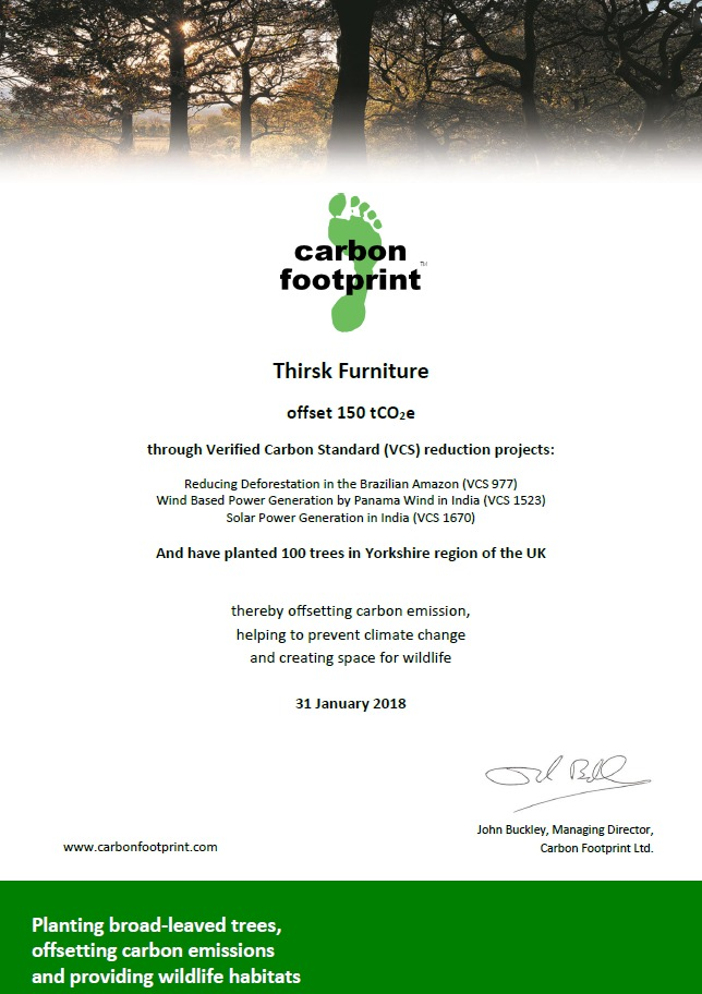 Thirsk Furniture becomes Carbon Neutral