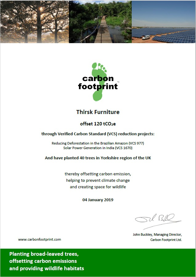 Thirsk Furniture continues carbon offsetting