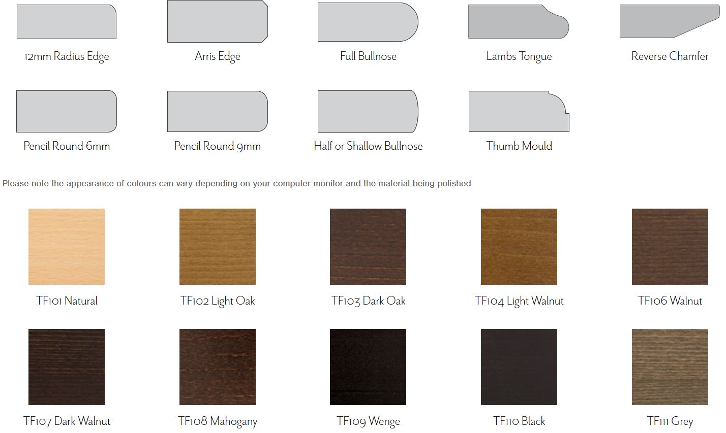 Edge Profiles & Stain Colours